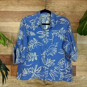 Chico's Linen Tropical Leaf Print Top 1